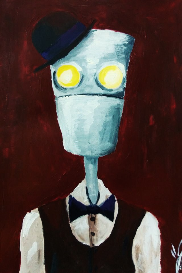 Robot in hat and bowtie