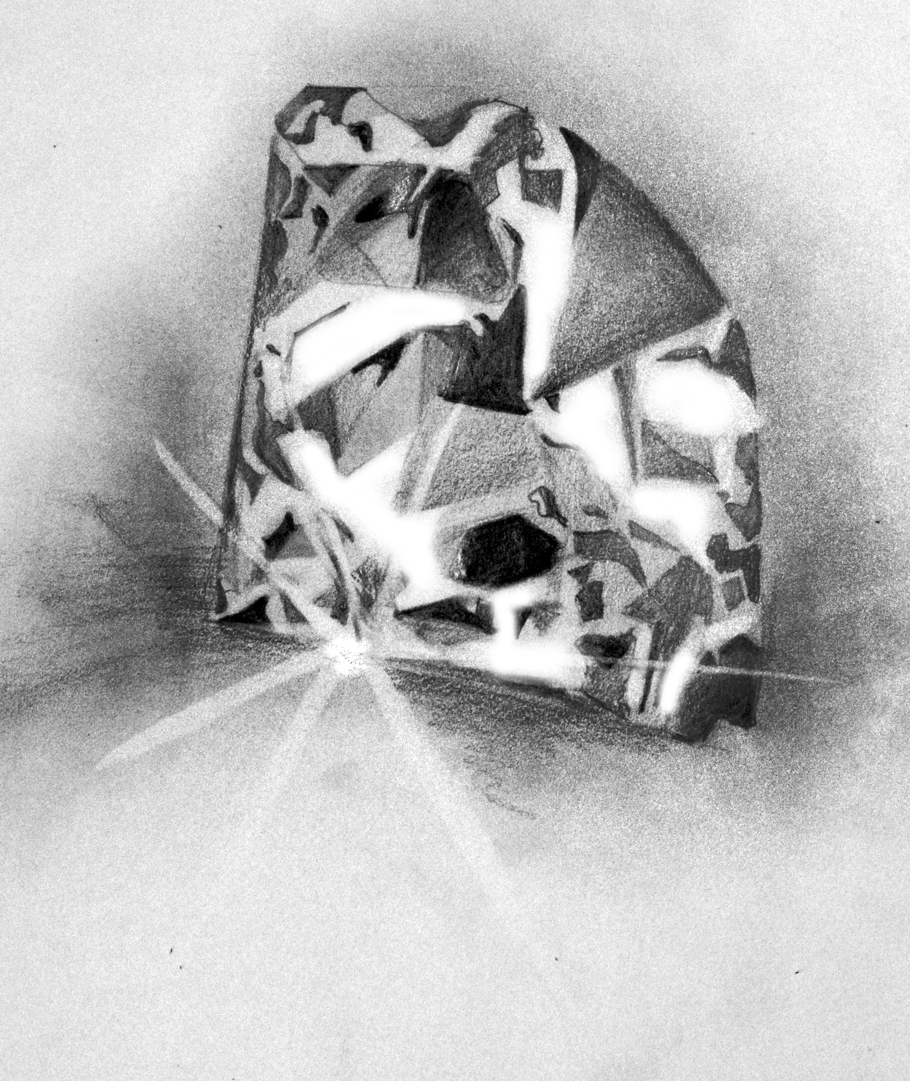 Diamond- pencil on paper