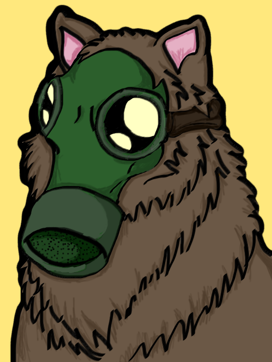 Gas Mask Wolf Inked/Colored