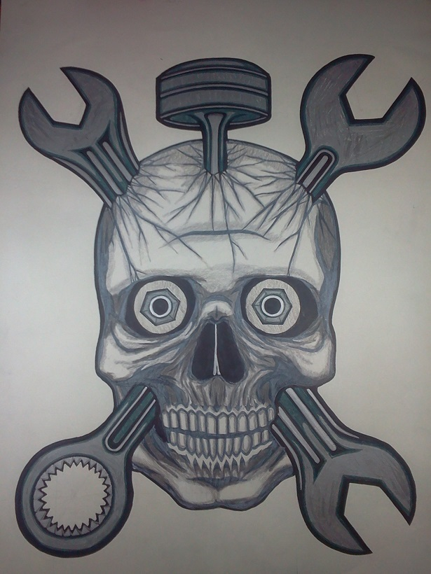 skull with wrenches and piston