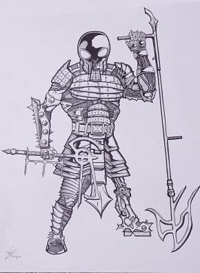 18x24 baton axe warrior