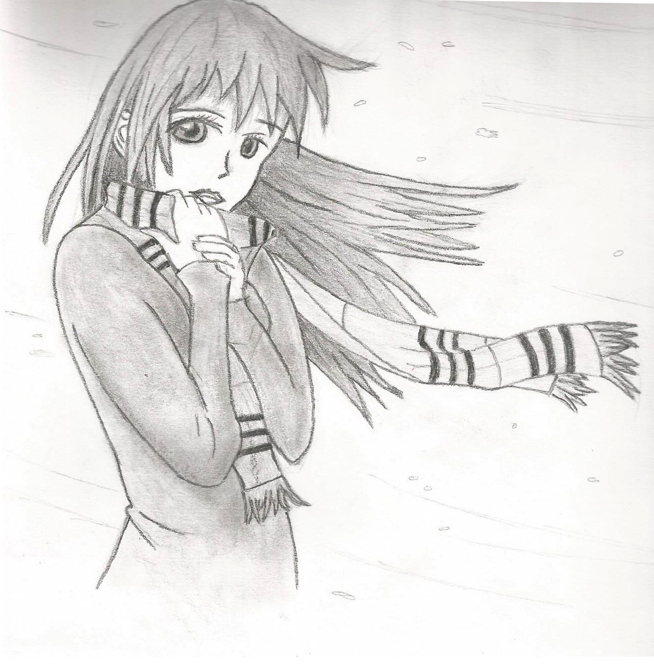 Manga girl in the cold