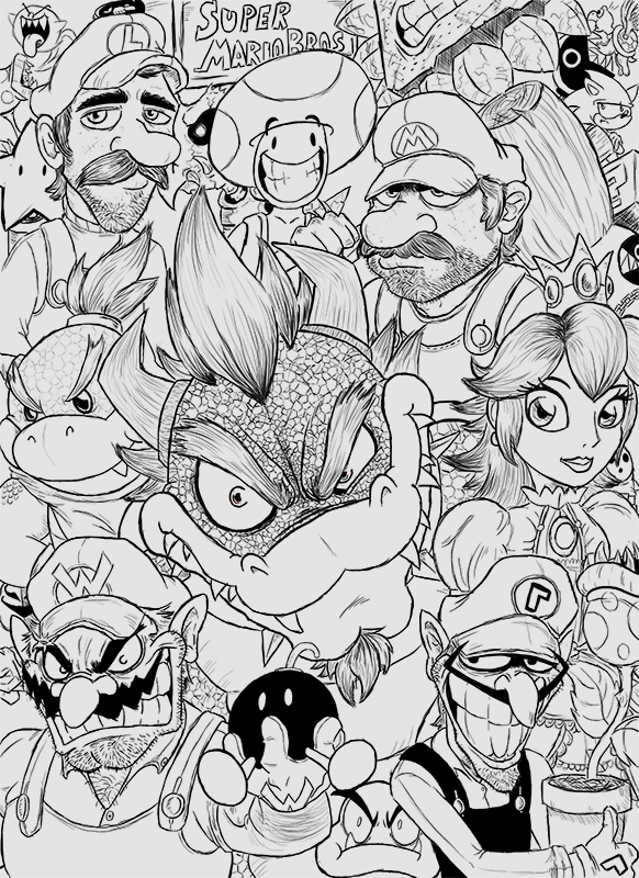 Super Mario Bros B&W