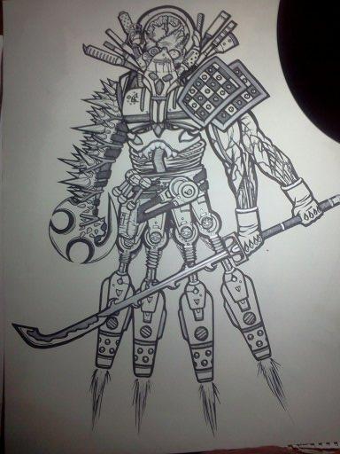 18x24-zombie steampunk warrior