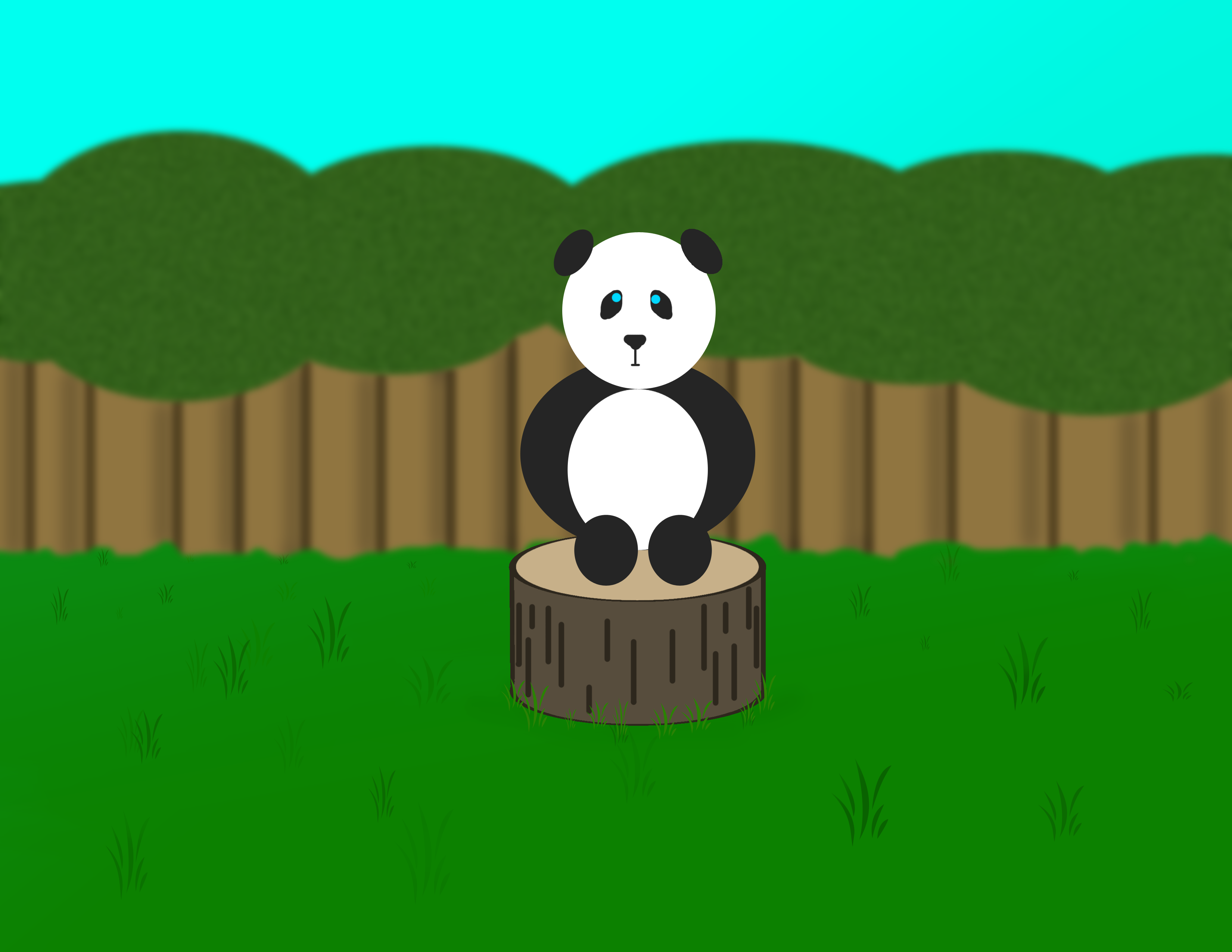 Cute Baby Panda on a Stump