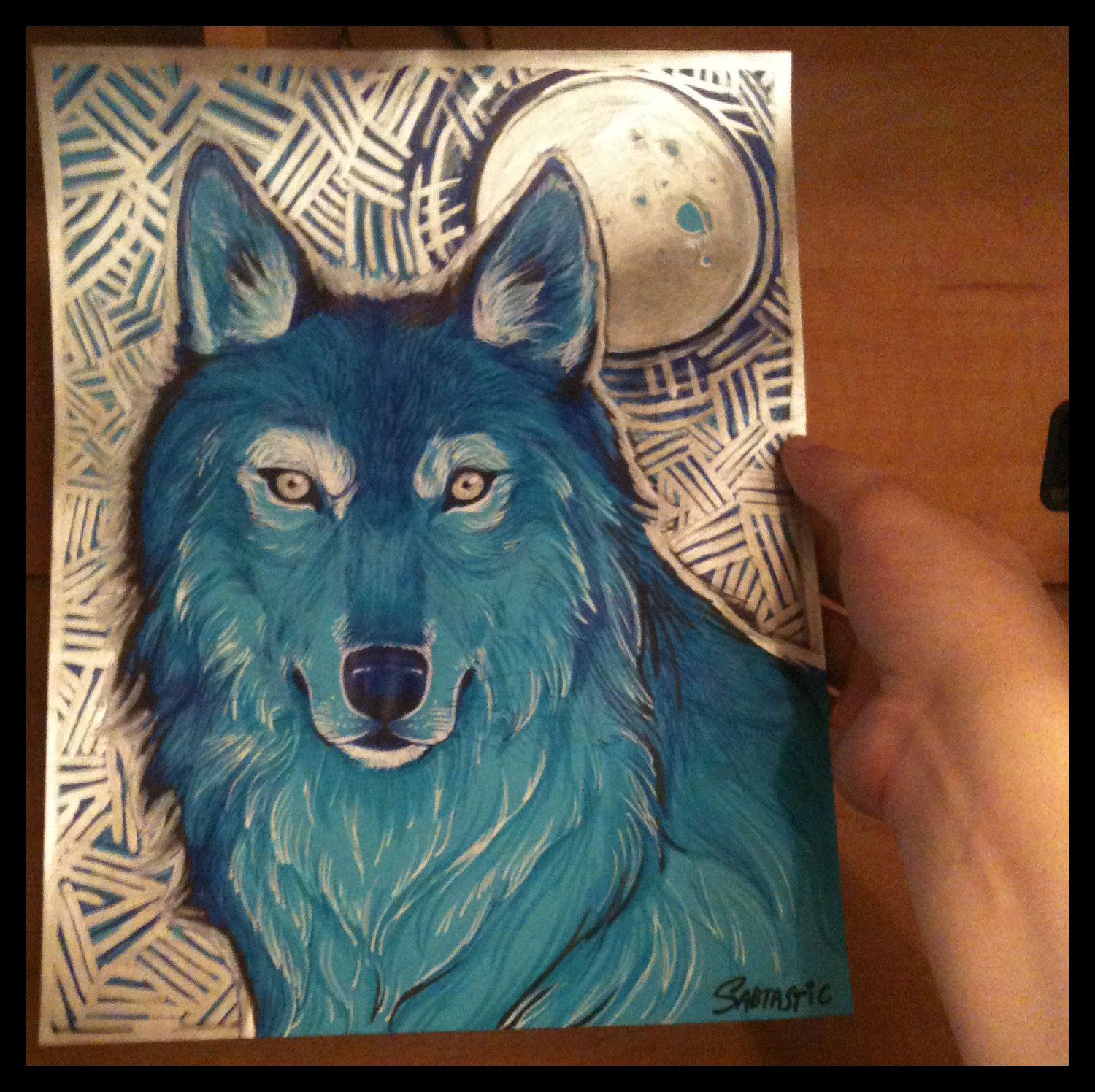 Blue Metallic Wolf Portrait
