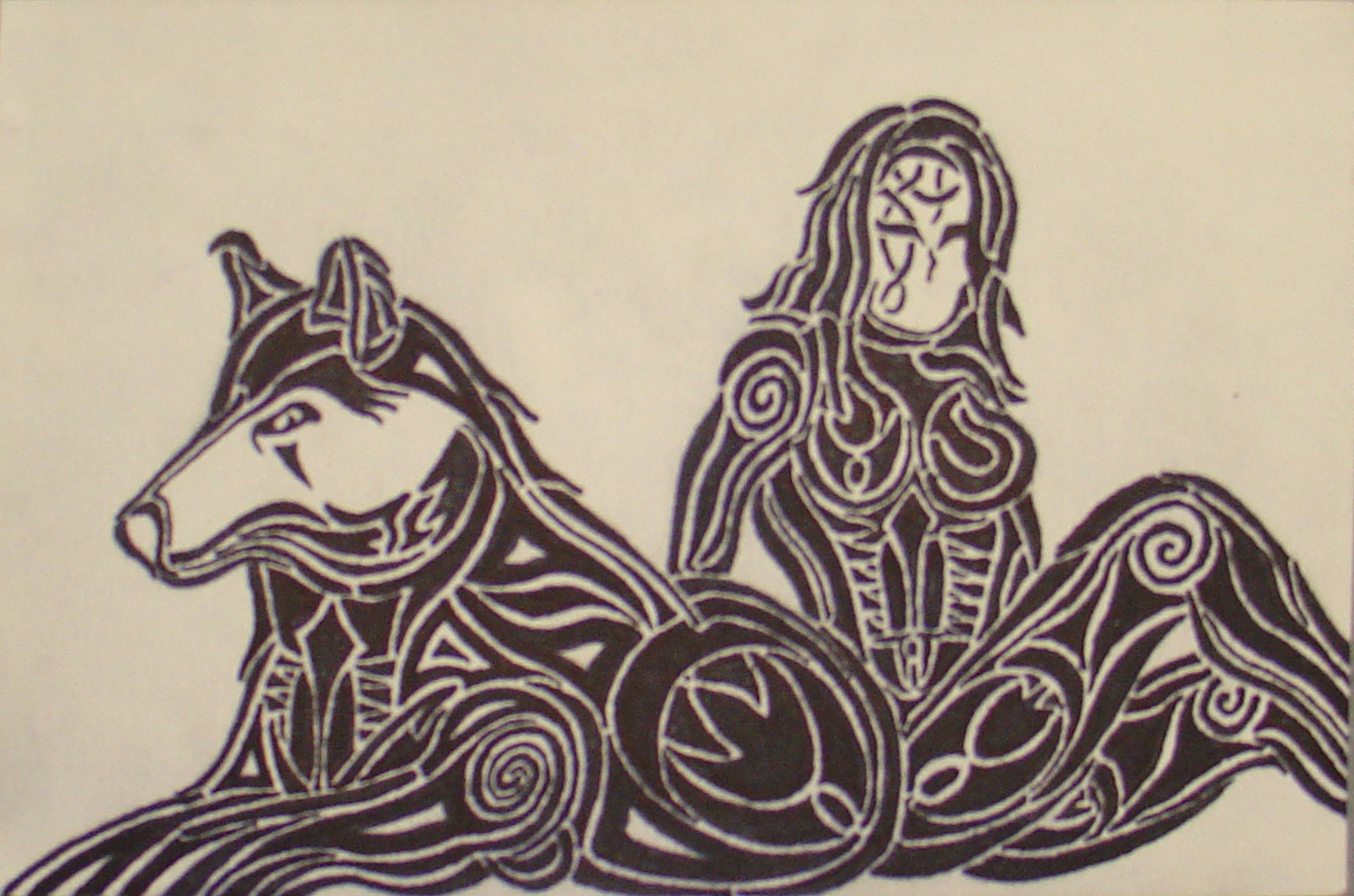Sharpie woman with wolf