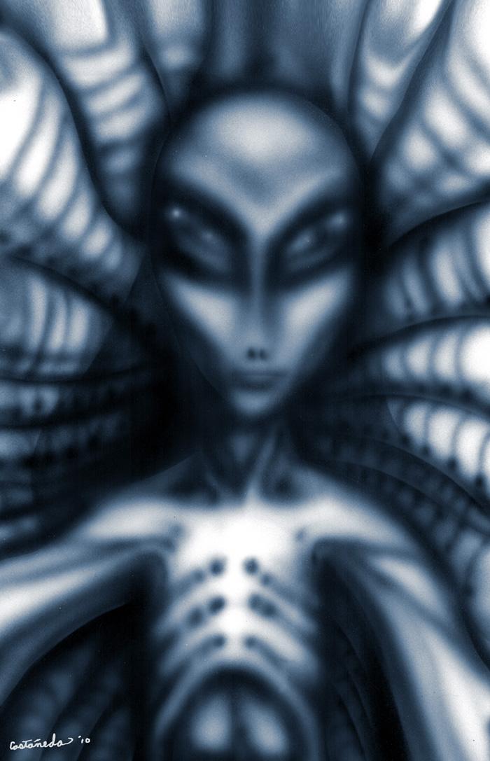 Gray alien in his lair