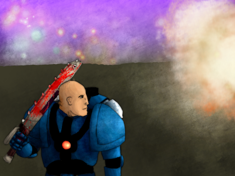 Space marine with a chainsword