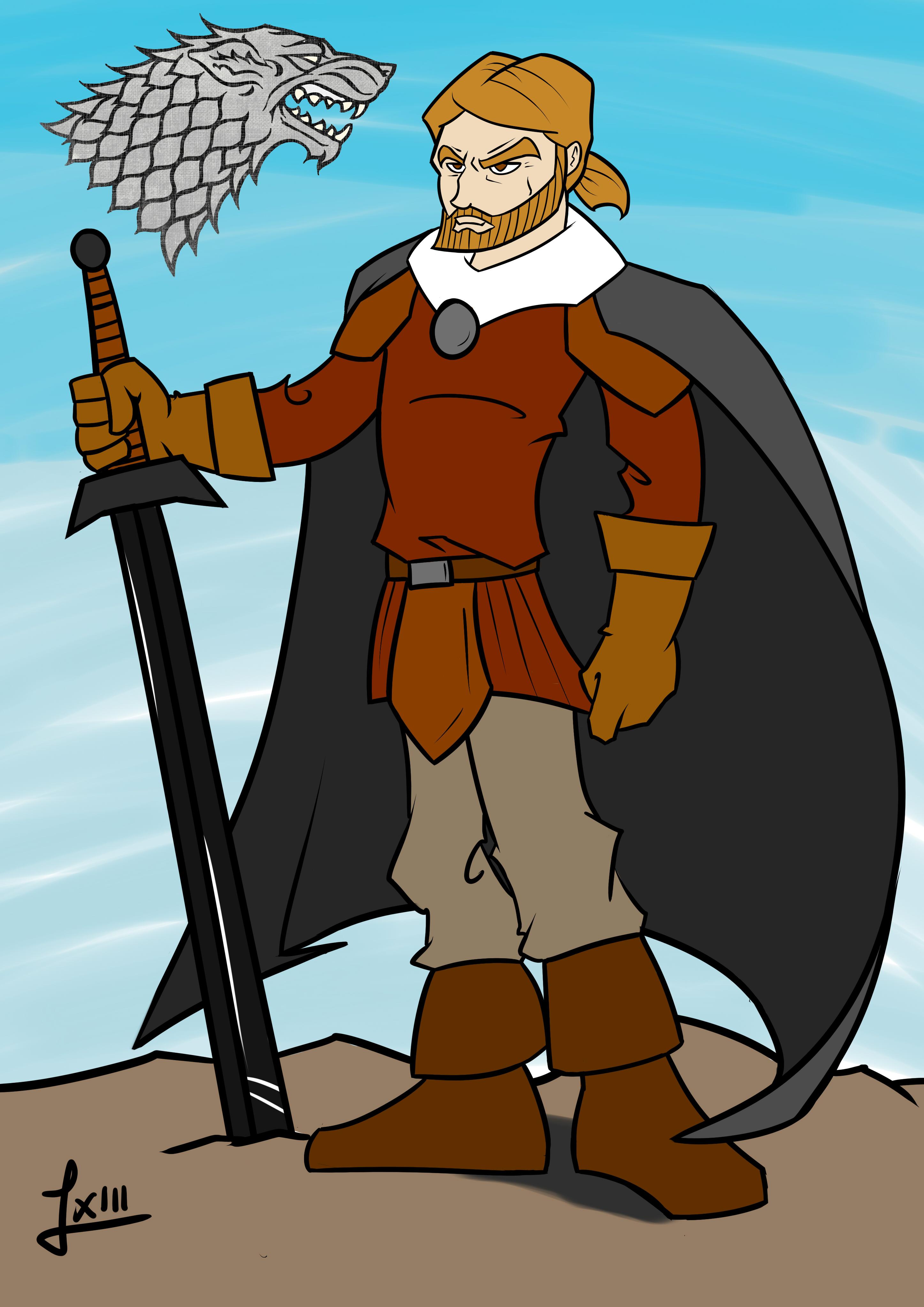 Eddard Stark cartoon style