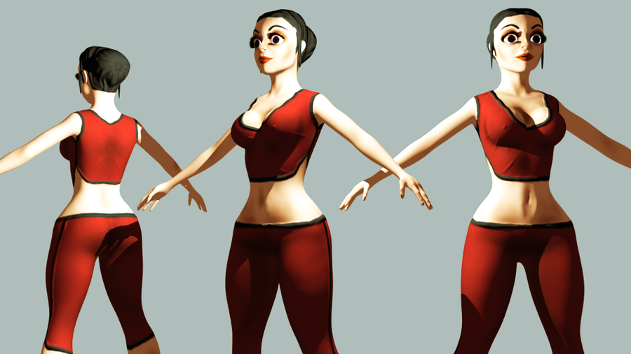Blender game character's rende