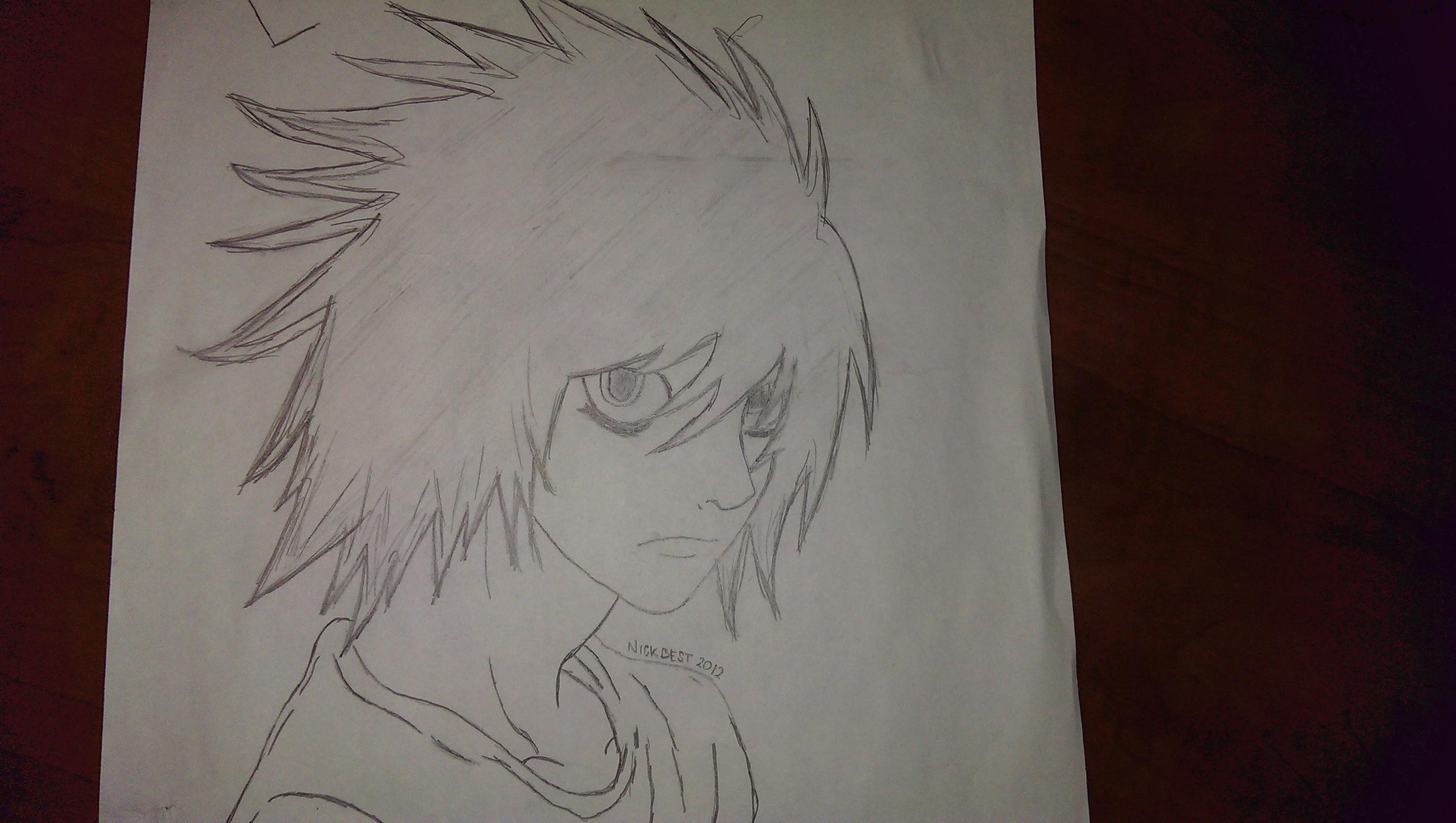 L Lawliet Pencil Drawing