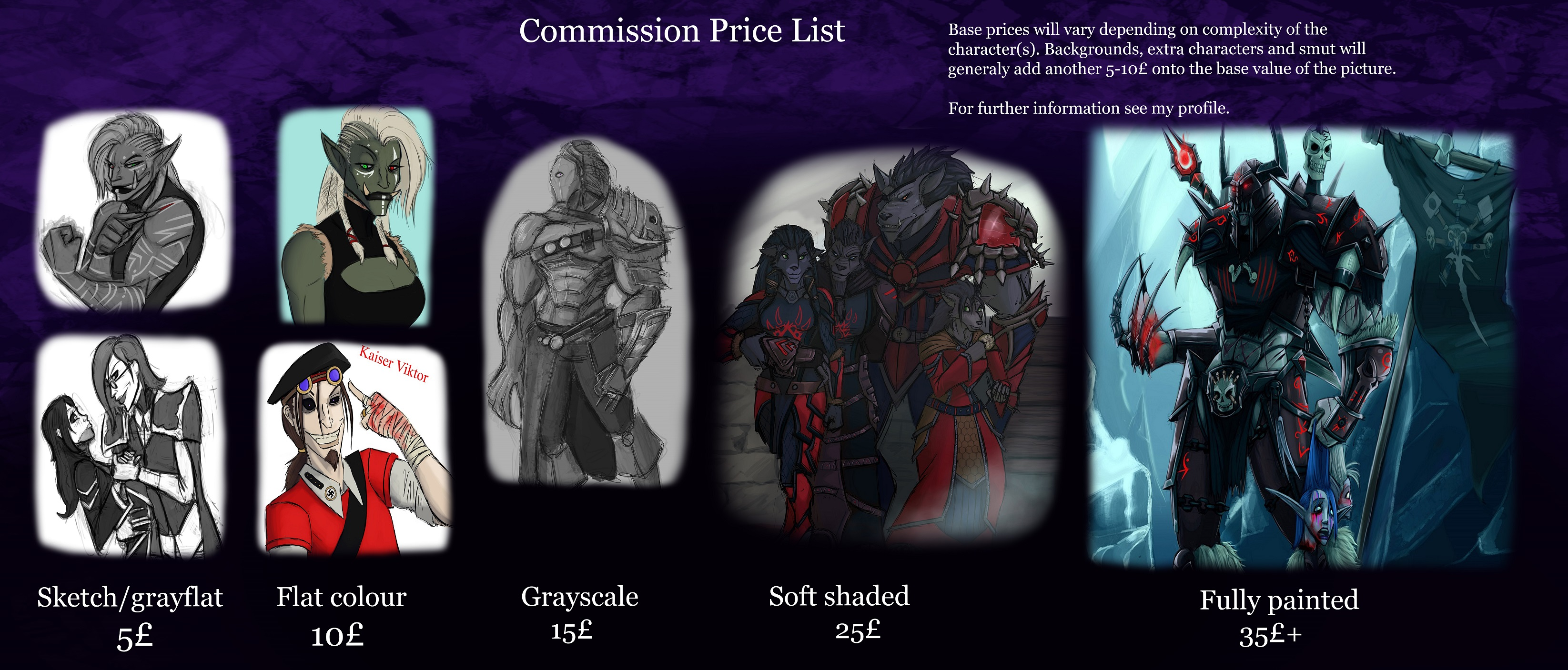Commission price list
