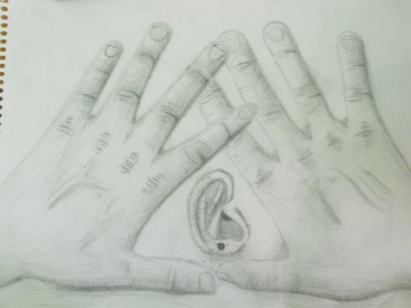 Hands & Ear Drawing