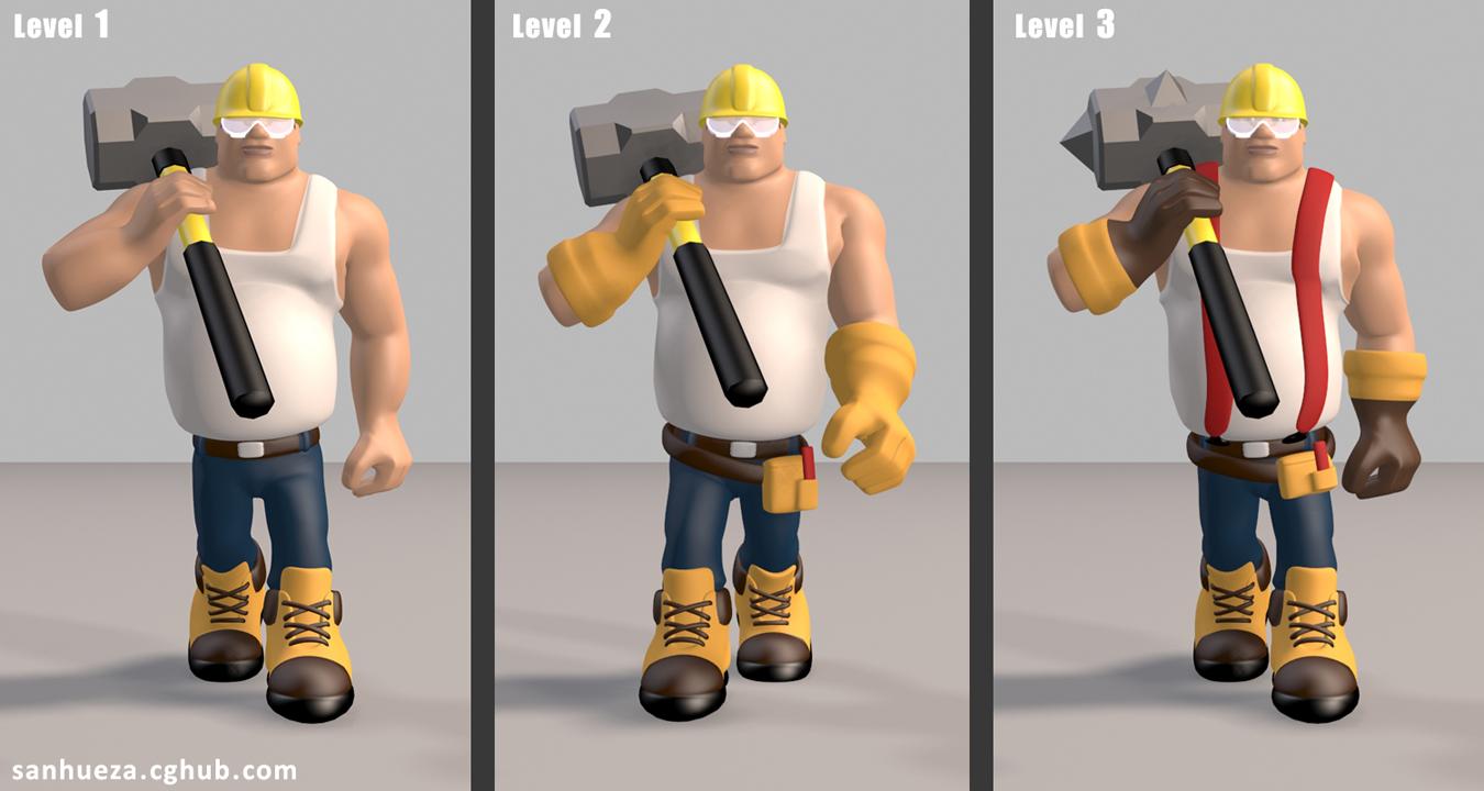 3D game character: Wrecker Lvl