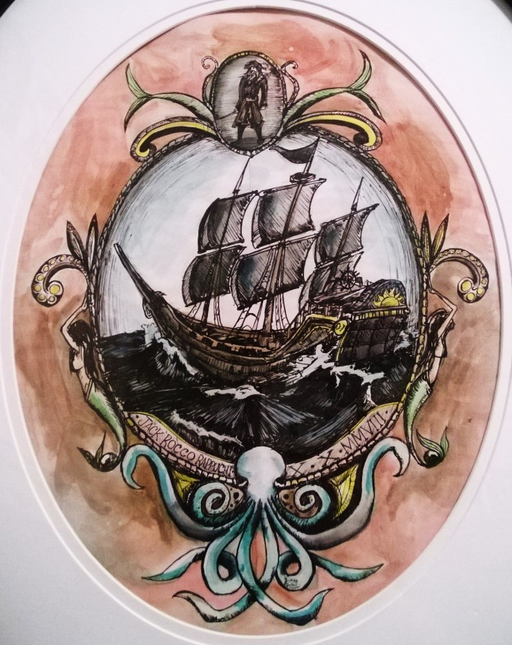 Pirate Ship Colored and Framed