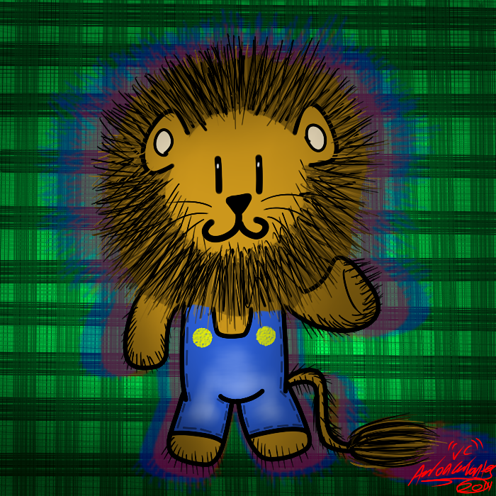 Lion in overalls