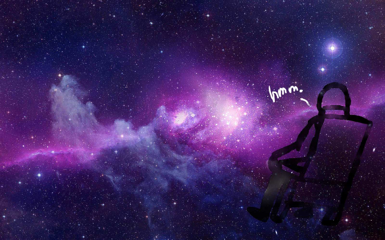 Guy on Chair thavel in Space