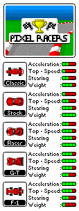 Pixel Racers car stats