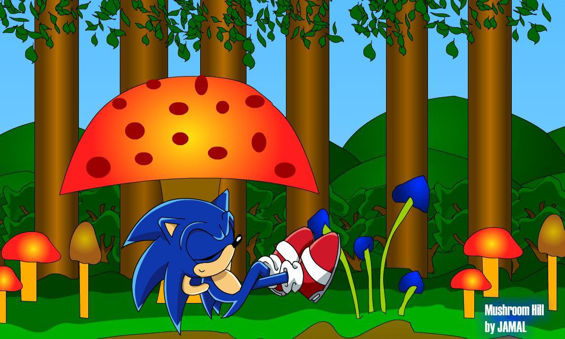 Sonic chillin at Mushroom Hill