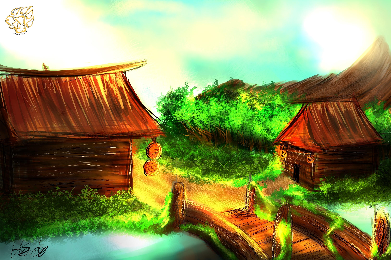 River village (speedpaint)