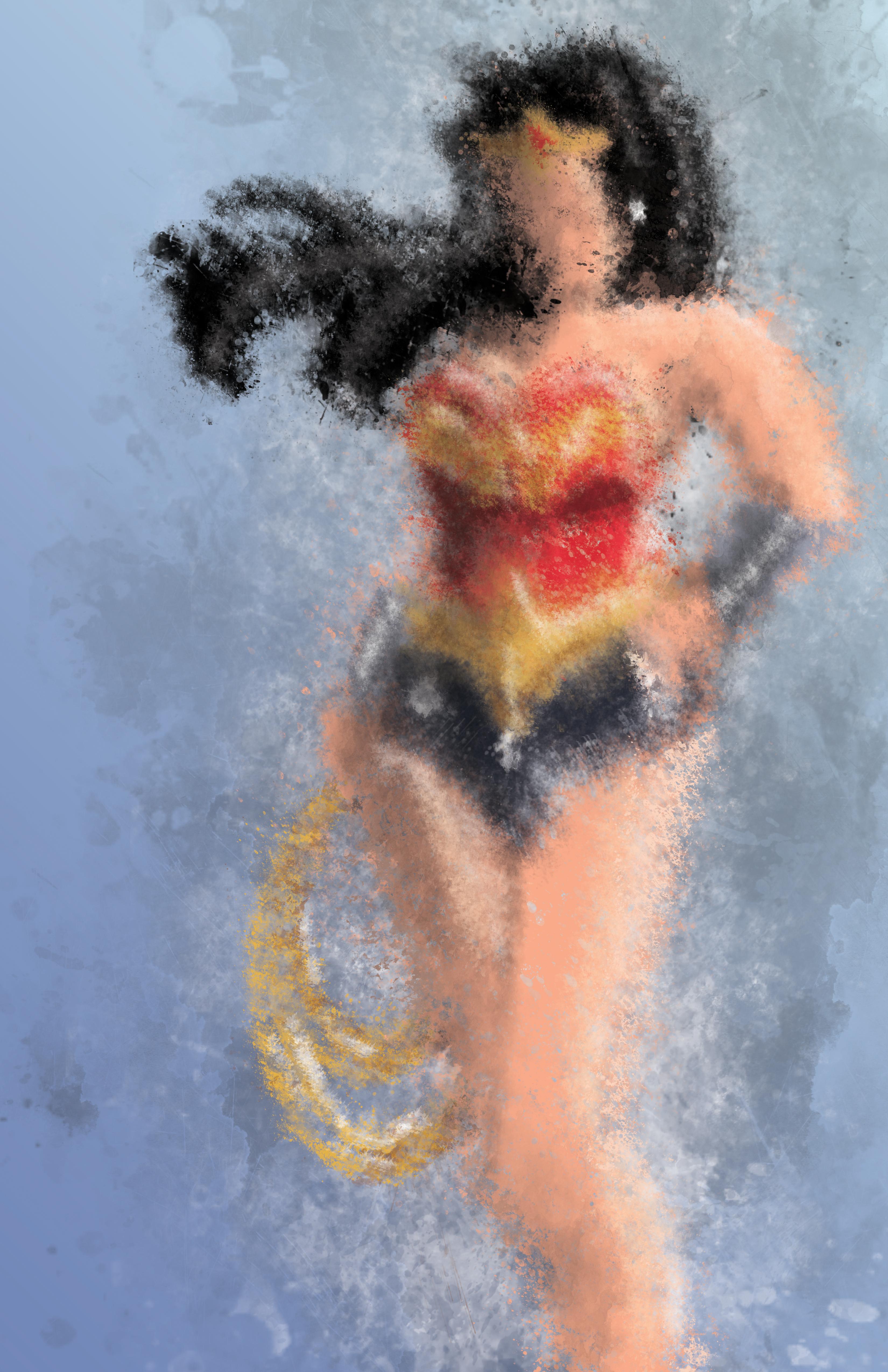Wonder Woman Faux Watercolor