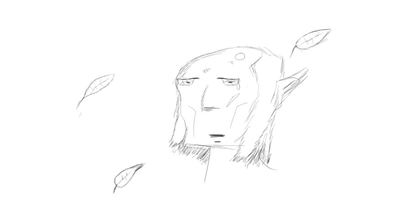 Practice sketch sad old elf