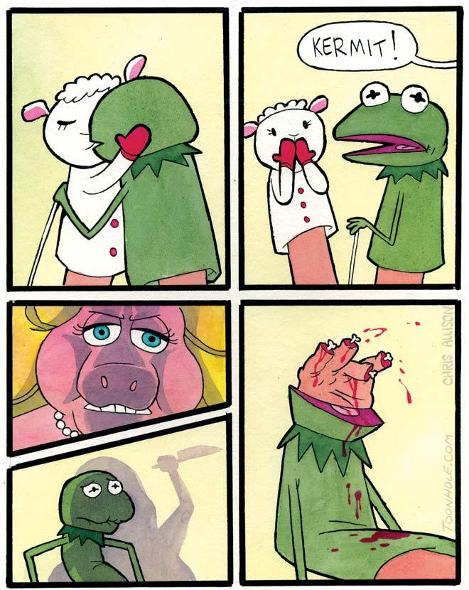 Kermit gets caught.
