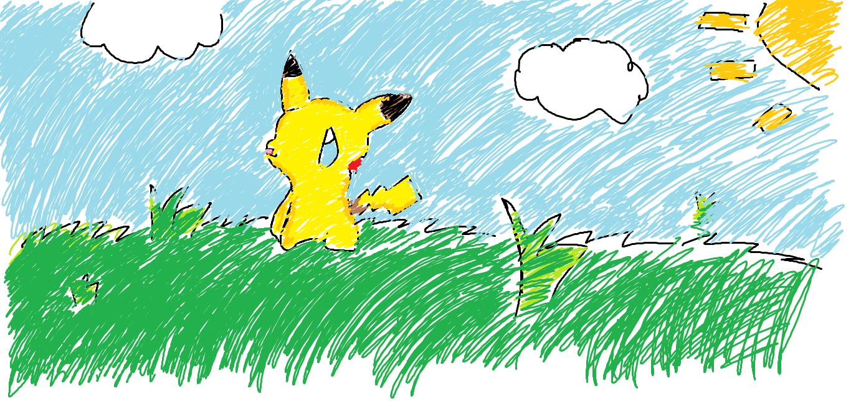 Pikachu in a field