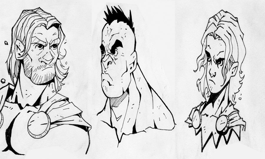 Avengers head sketches