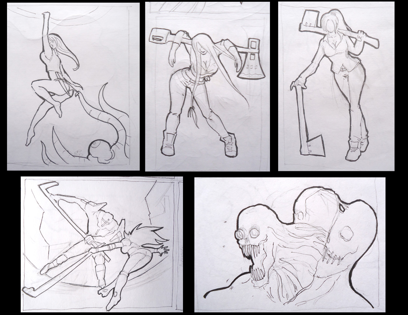 sketches girls and monsters
