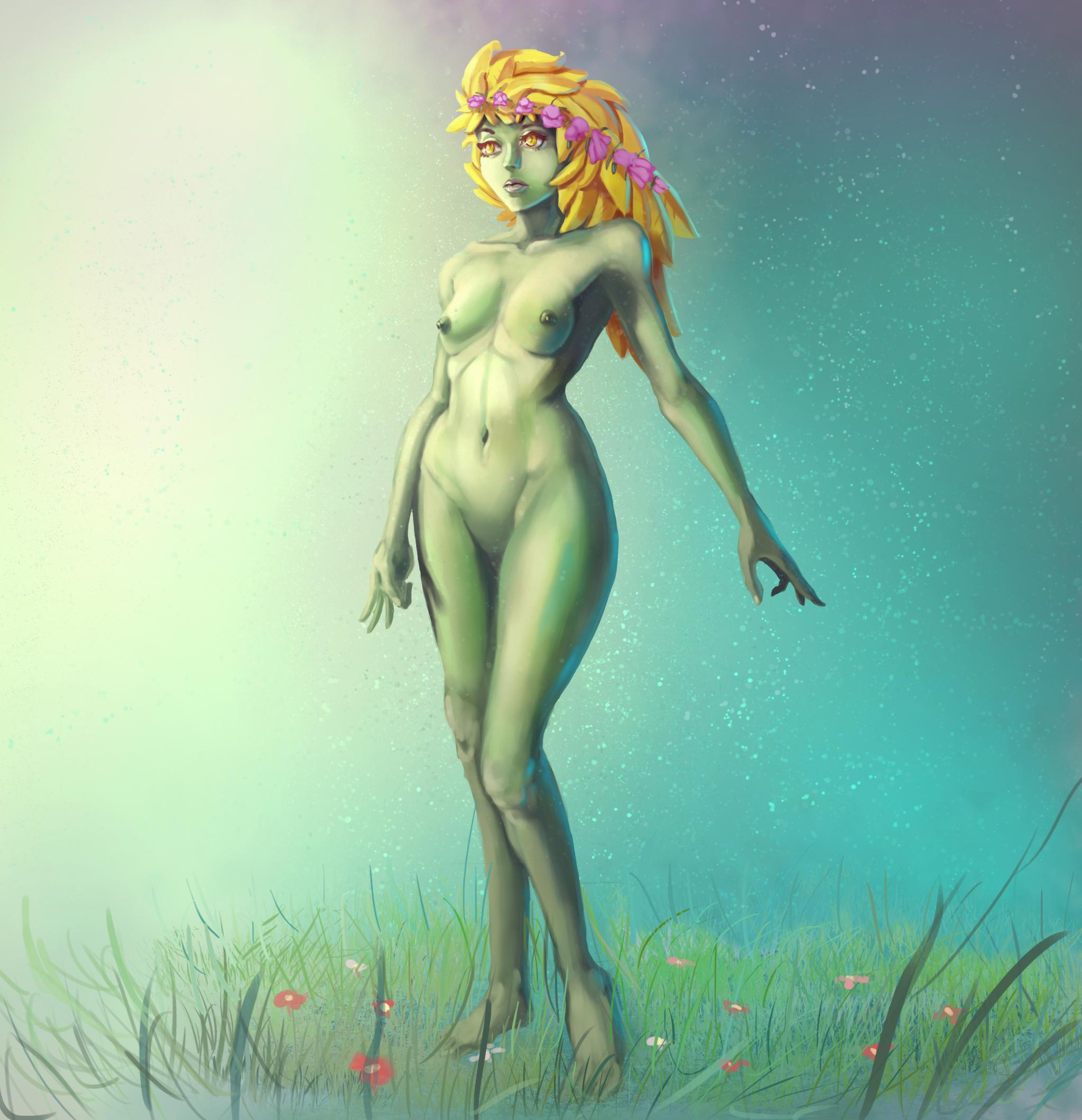 Nude cartoon dryad exposed scene