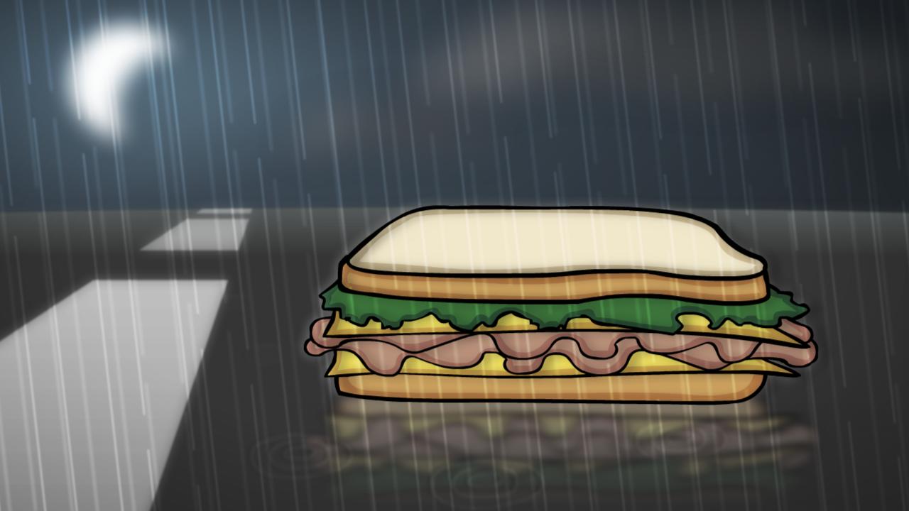 Sandwich in the rain