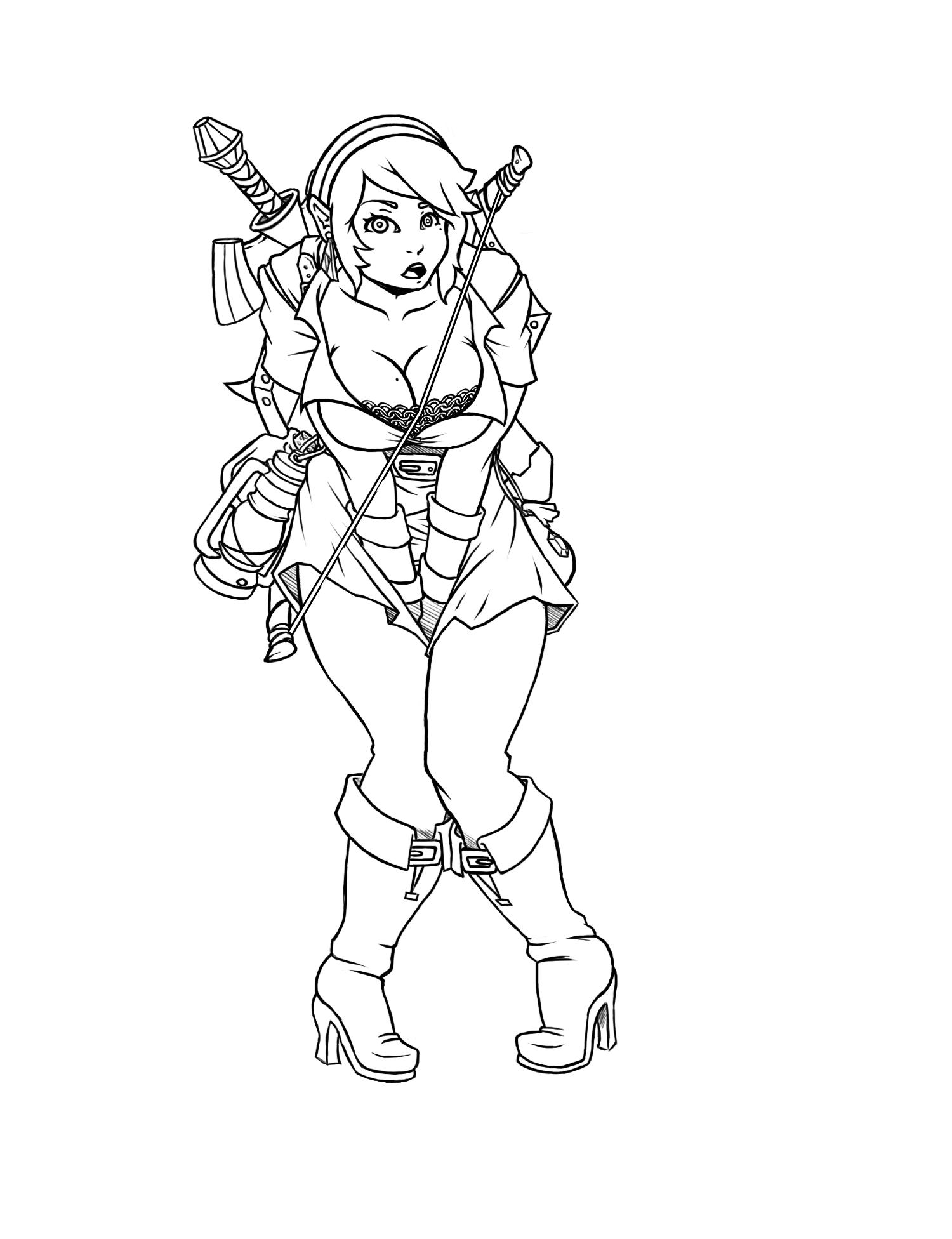 Link Girl line art