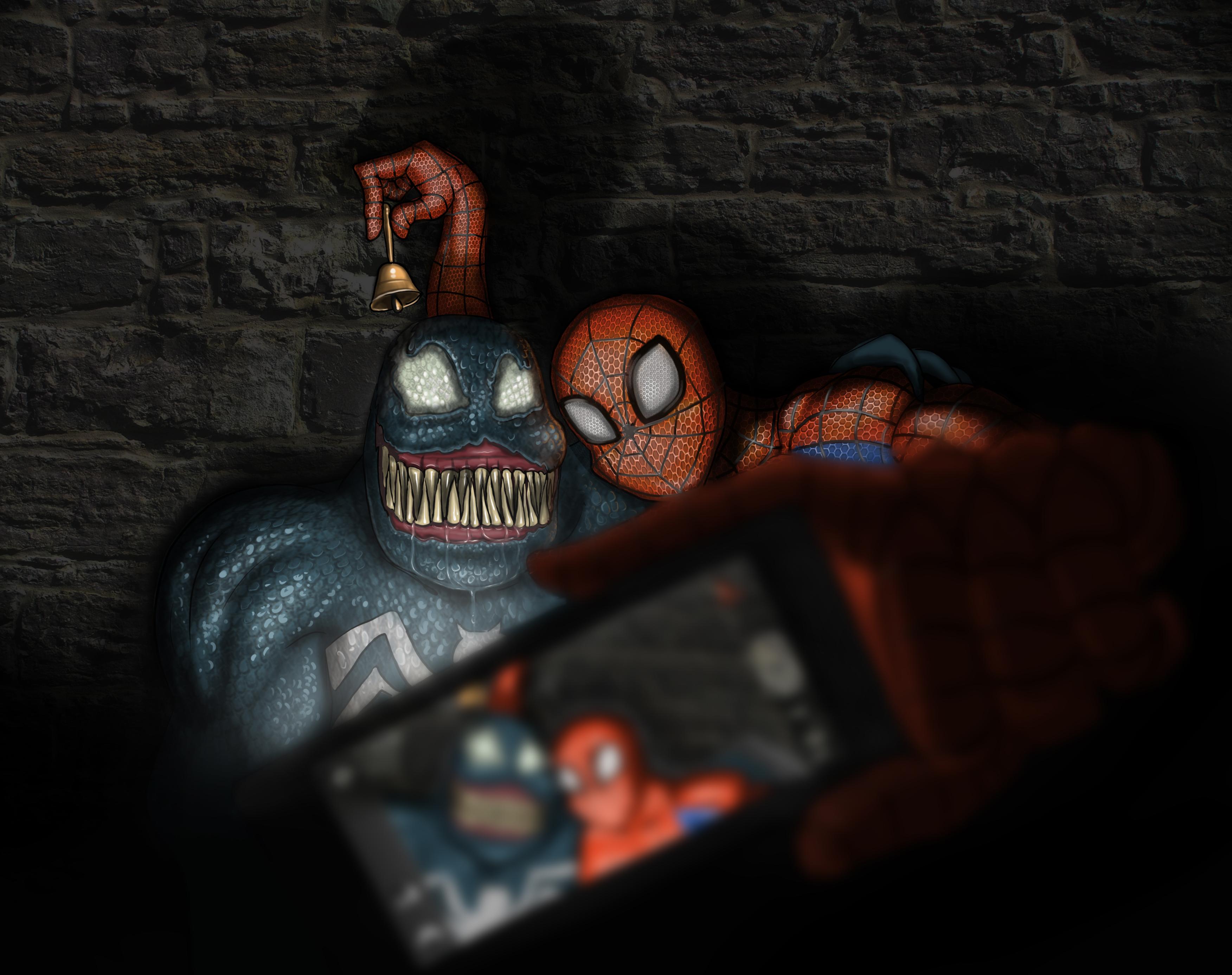 spiderman's group selfie