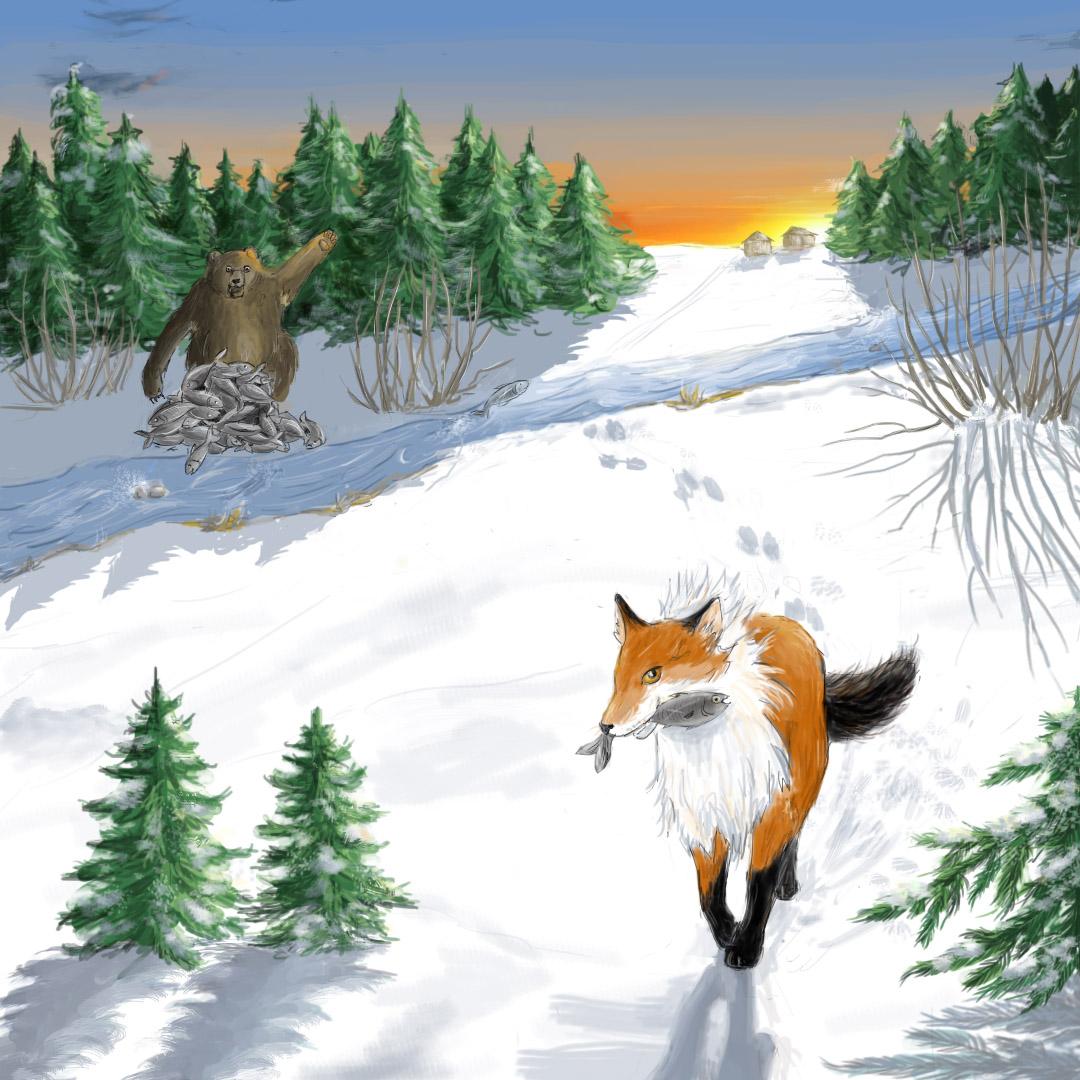 Fox stealing fish