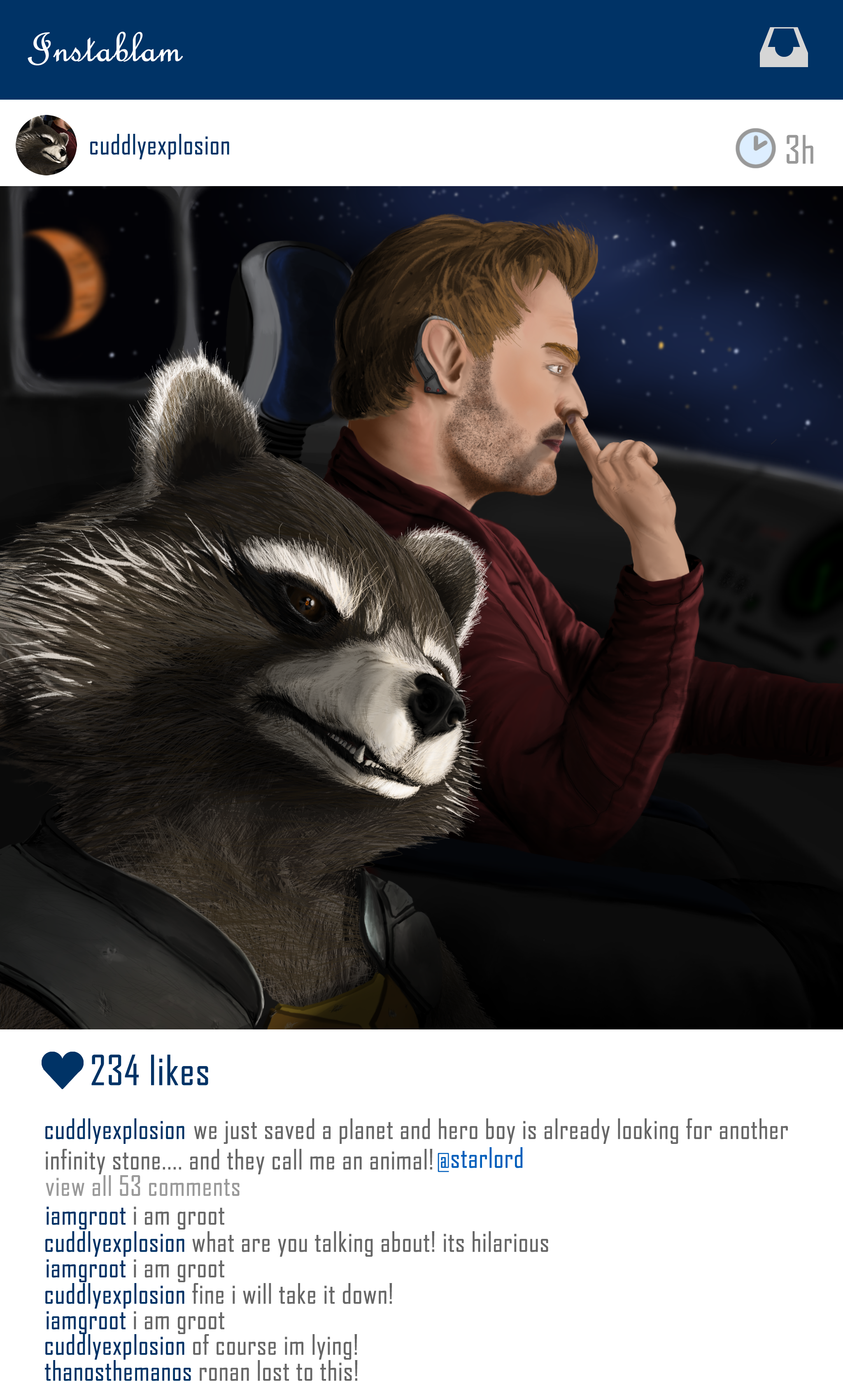 Rocket messing with Starlord