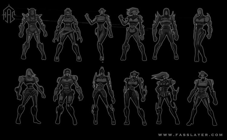Armor girl silhouettes