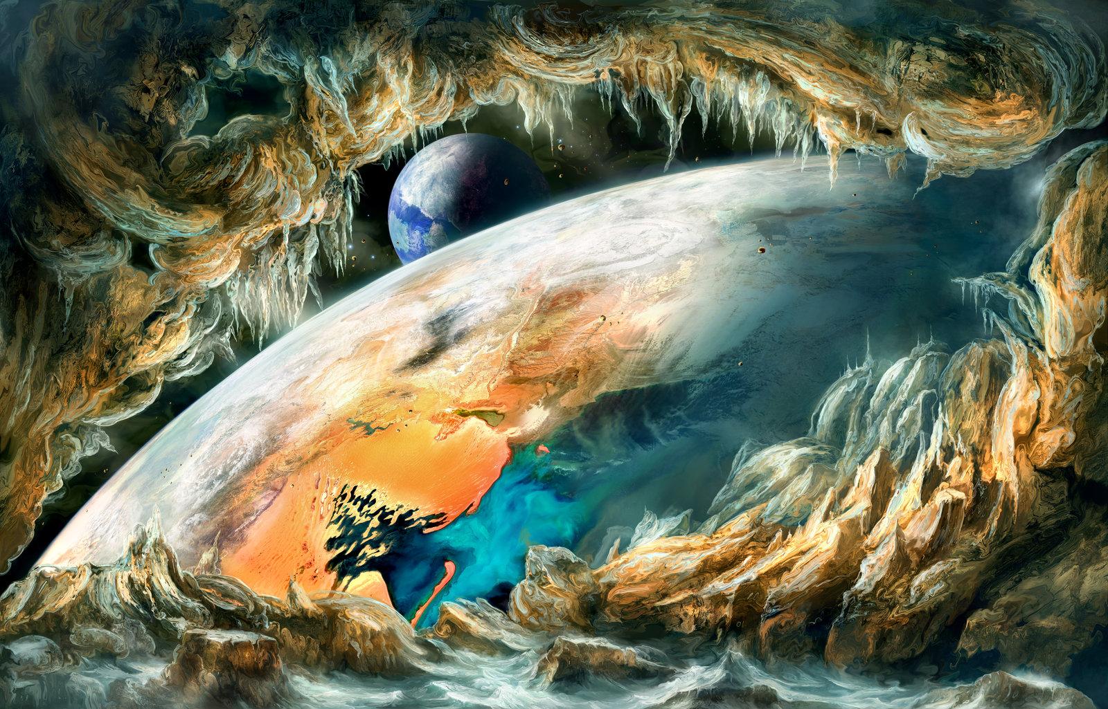 Cavern View of Desert Planet
