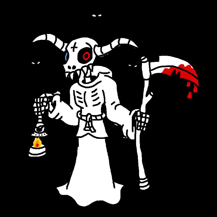Acheron holding a scythe