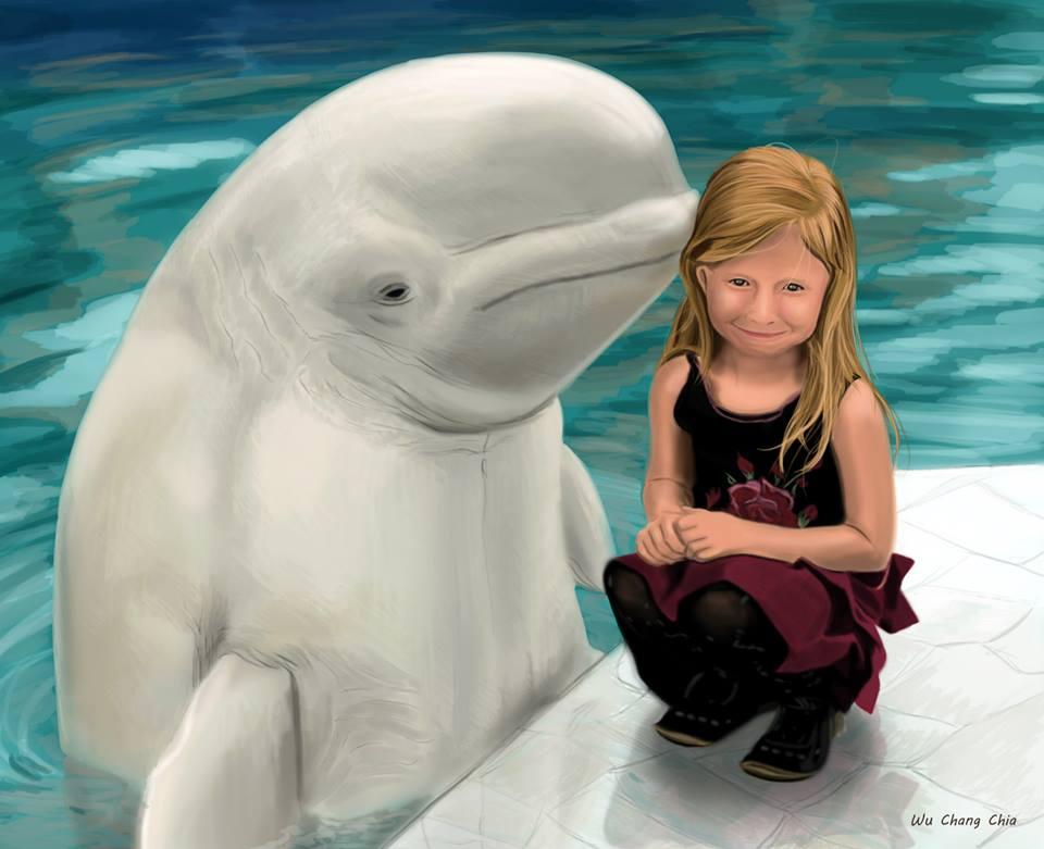 Girl and beluga