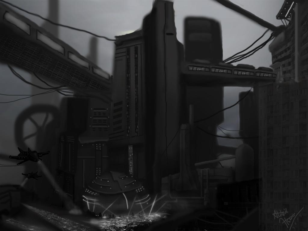 dystopian downtown