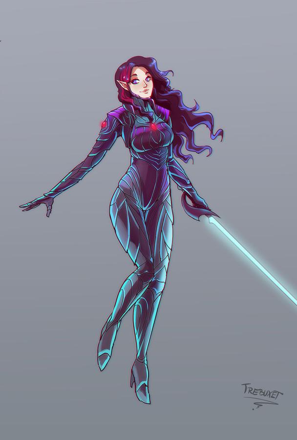 Kerri in armor poses 1