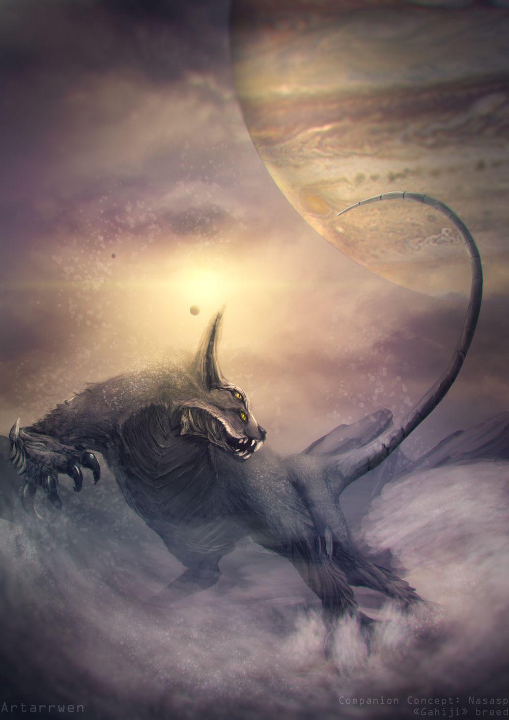 Feline alien creature concept