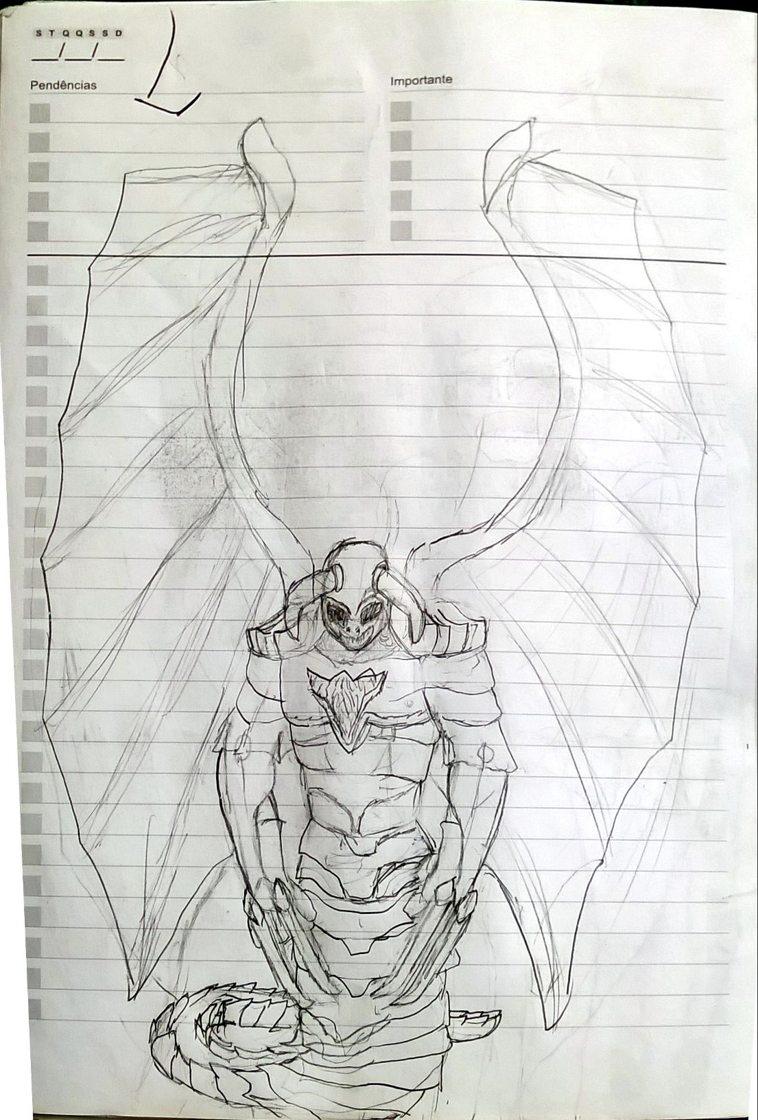 Winged Naga Sketch