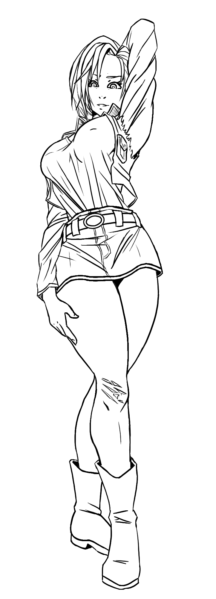 Android 18 line art