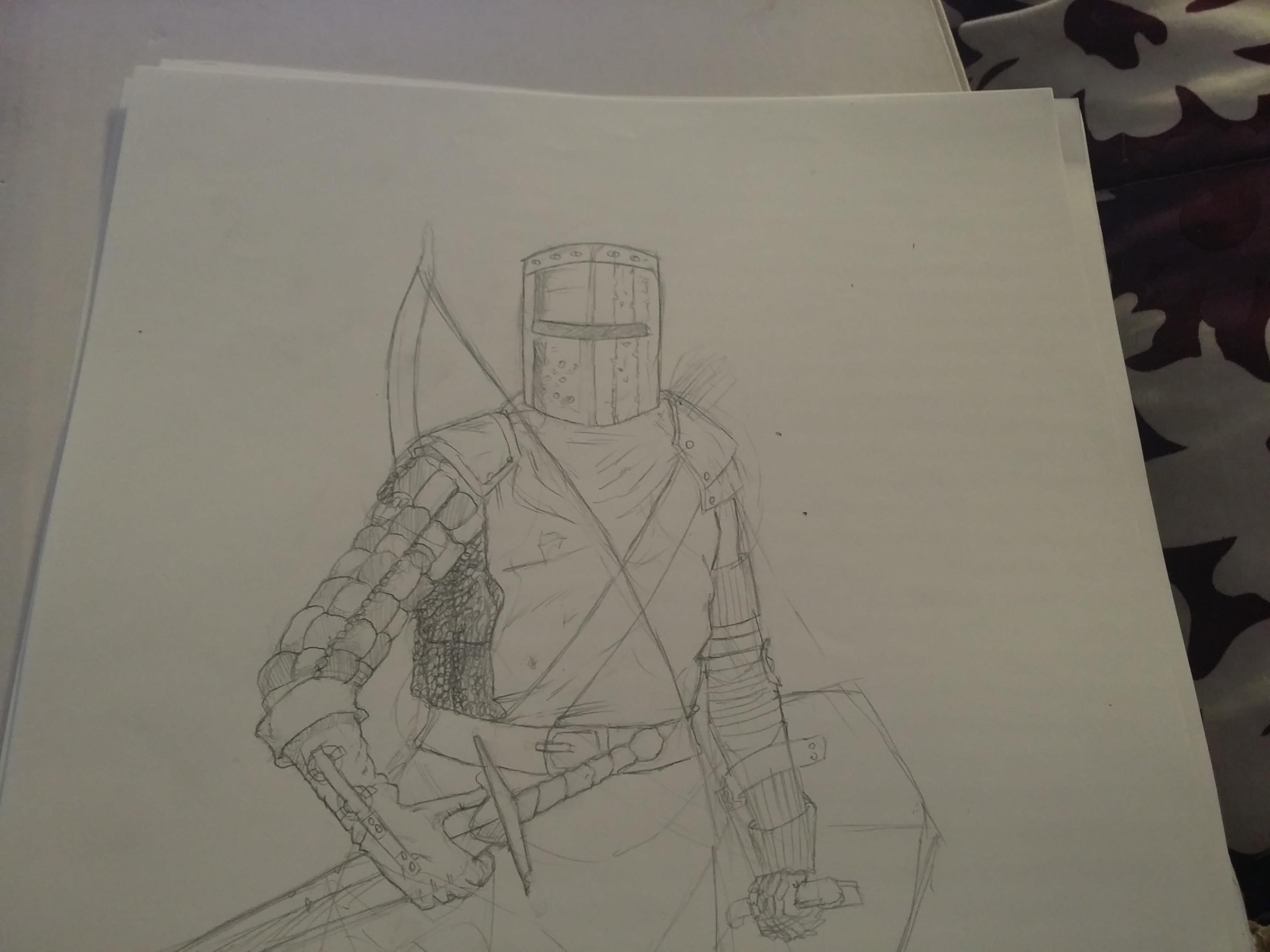 Pencil sketch knight.