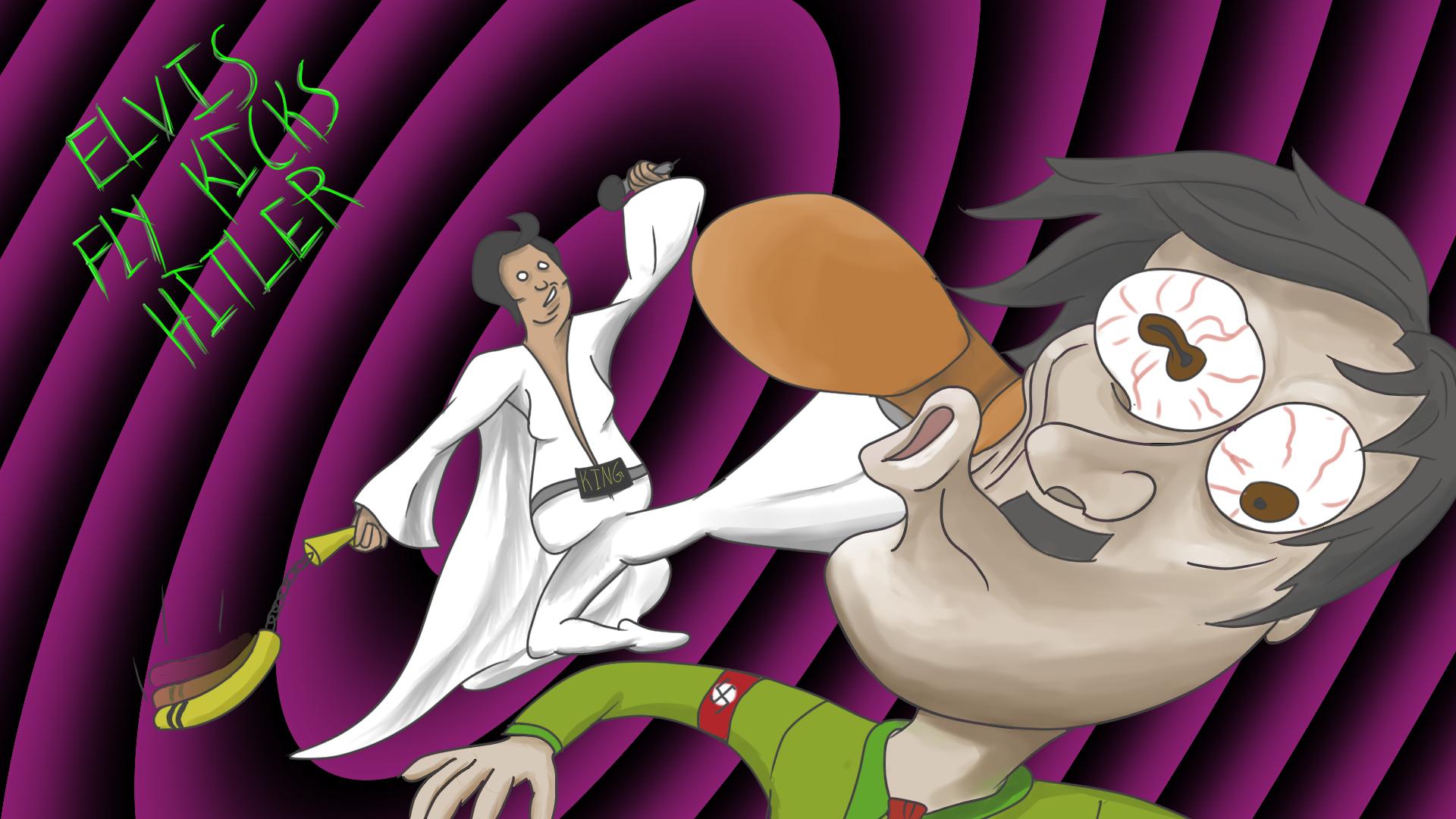 Elvis Fly Kicking Hitler