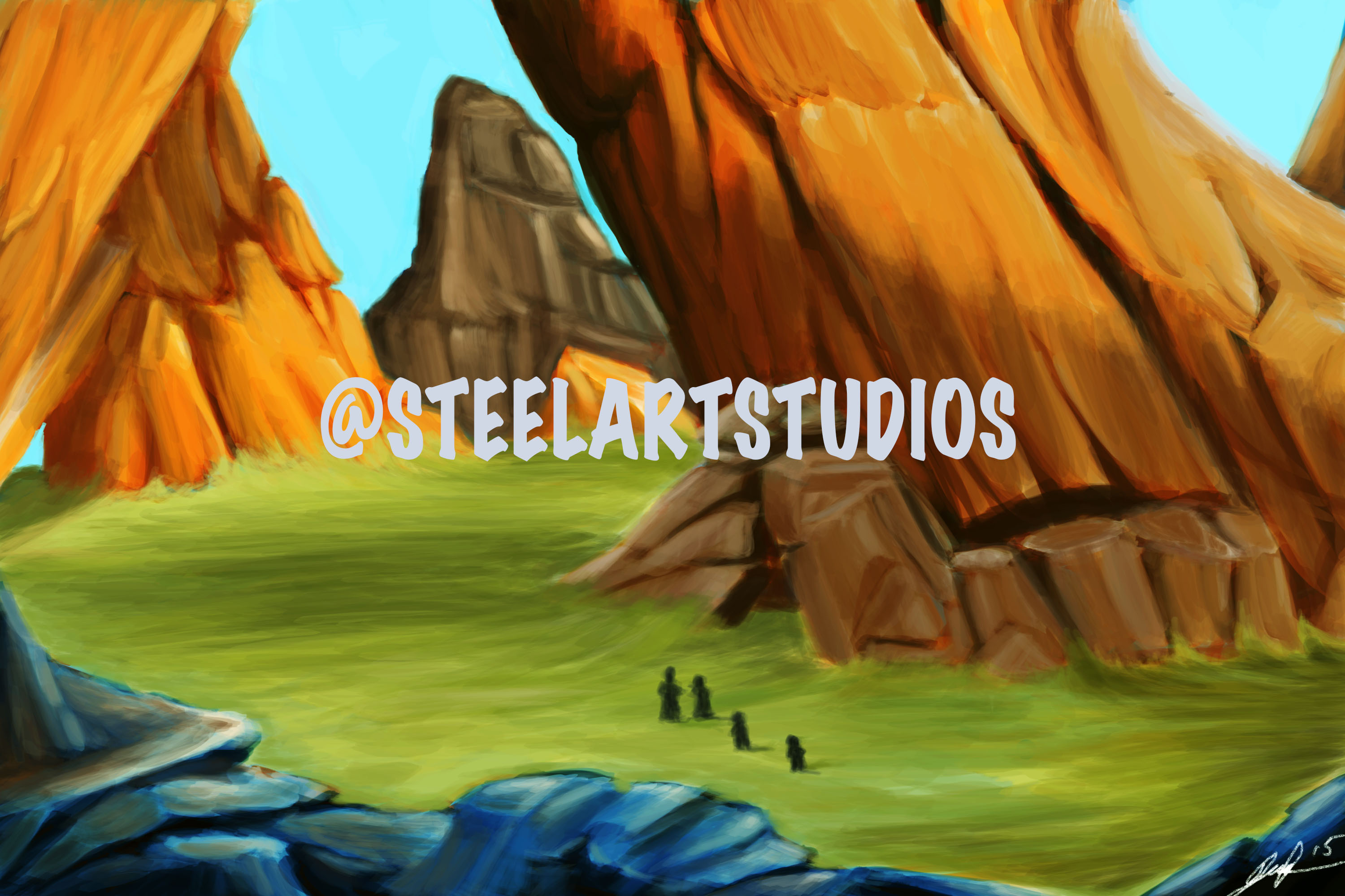 Giant rock landscape concept game art :)