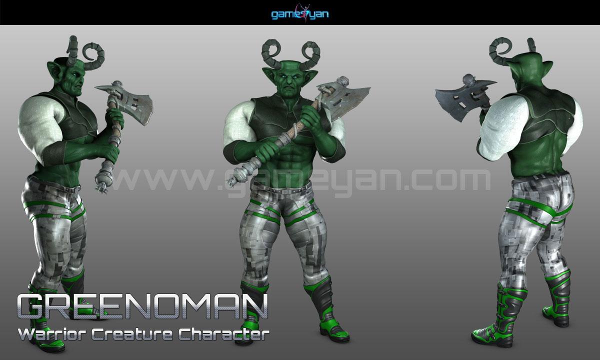 Greenmano Warrior Character Modeling